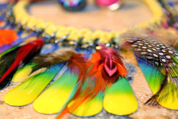 psychedelic color necklace with feathers