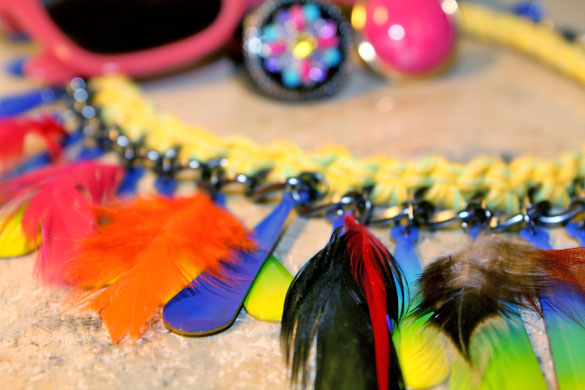 psychedelic feather necklace accessories