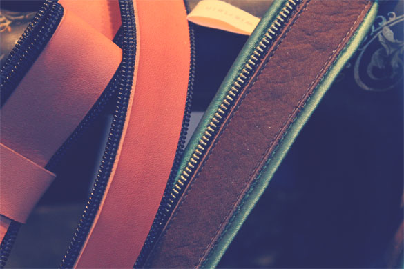 Leather Belt Zipper Close-up