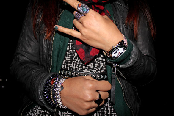 spike bracelet and metal rings