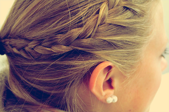 Braided Hair with Pearl Earring Accessories