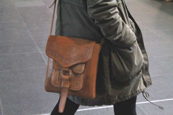 Brown leather satchel accessories
