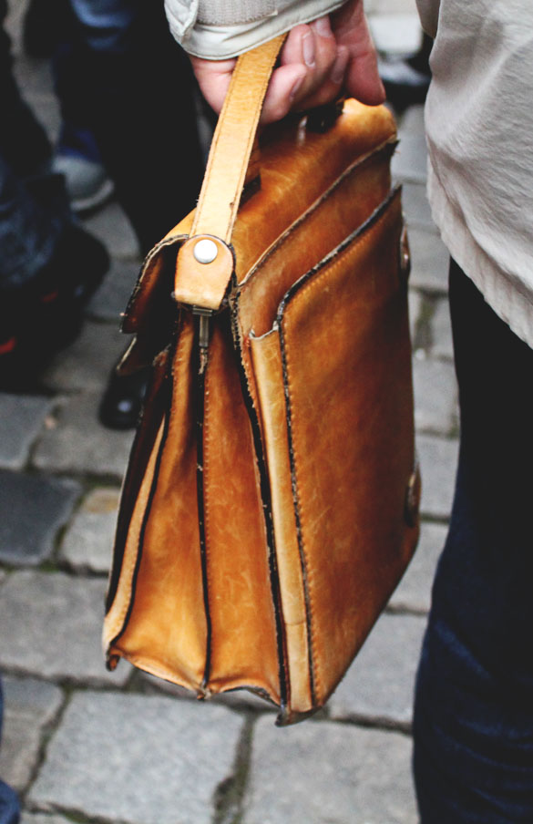 Vintage leather satchel for men from the back