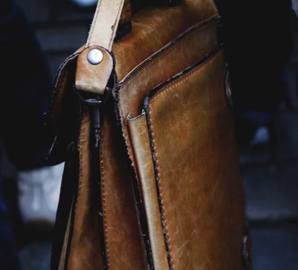 Close up vintage leather satchel for men