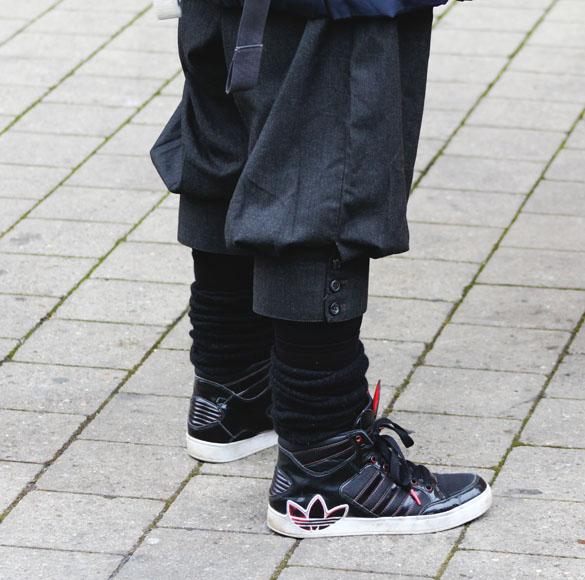 black socks with adidas sneakers