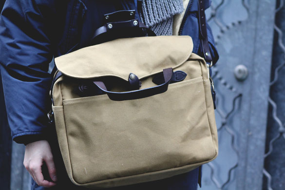 Filson original briefcase in tan closeup shot