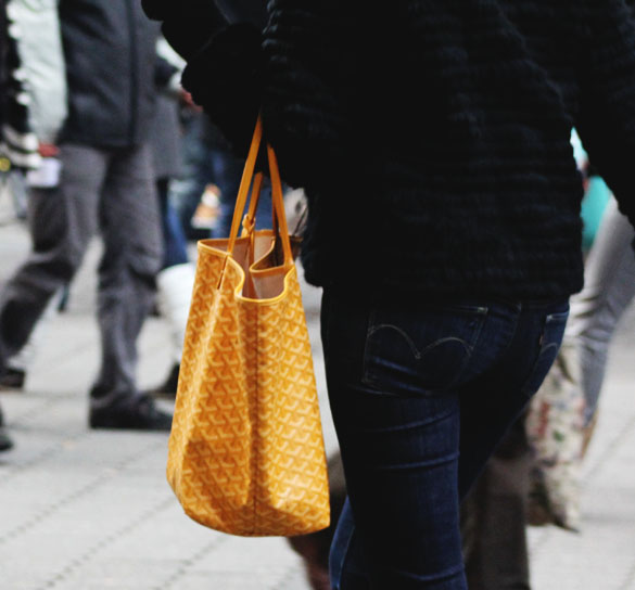 yellow goyard shopper bag from the back