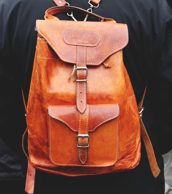leather rucksack in cognac
