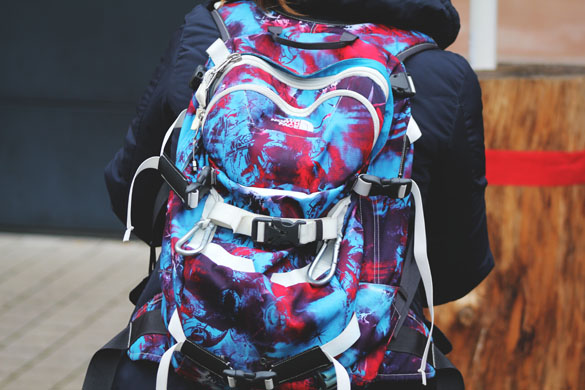 Backpack from the north face in blue and red