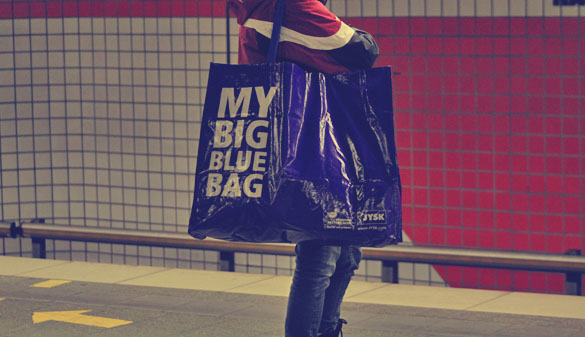 a big blue bag