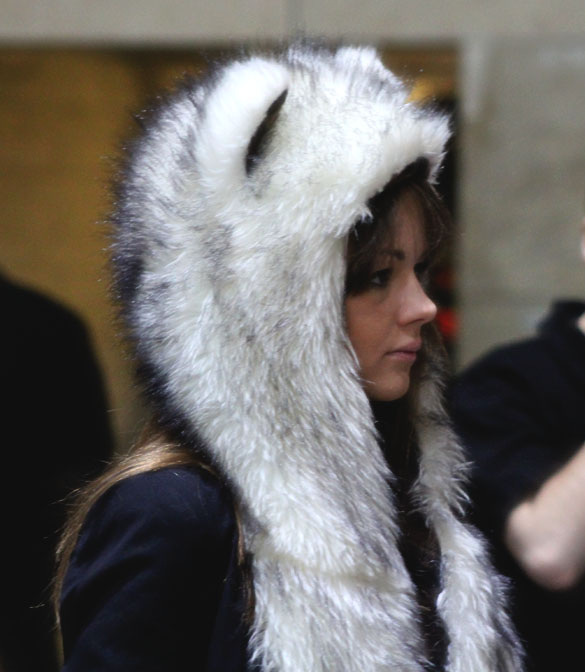fluffy animal hood spotted in bread and butter berlin
