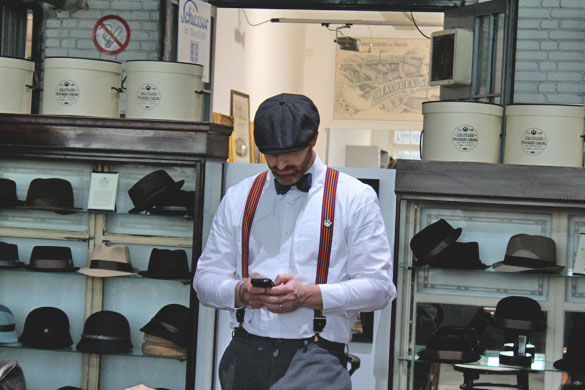 goorin bros flatcap worn by a dapper man