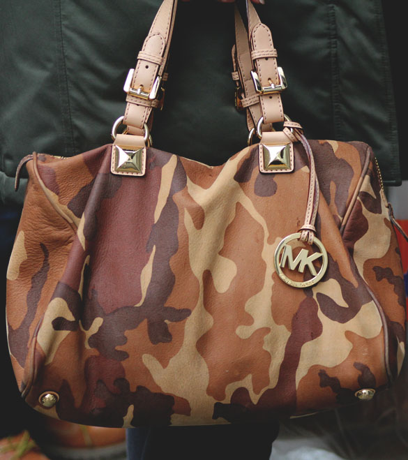 Michael by michael kors grayson brown camo satchel