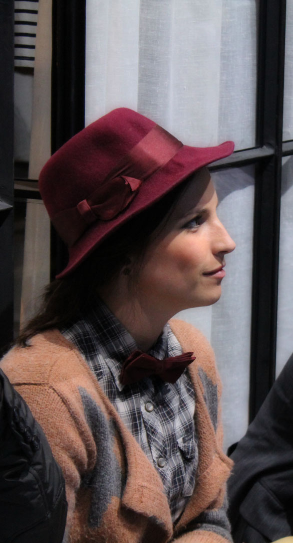 trilby hat and bowtie in bordeaux