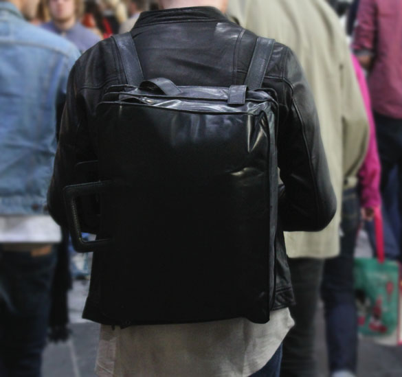 Leather backpack and briefcase in one
