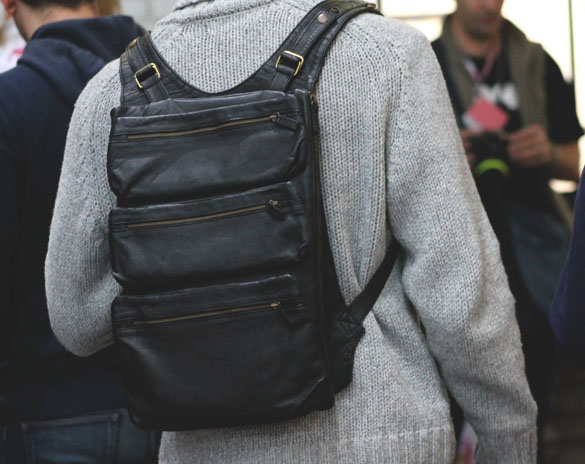 Black backpack with three pouches