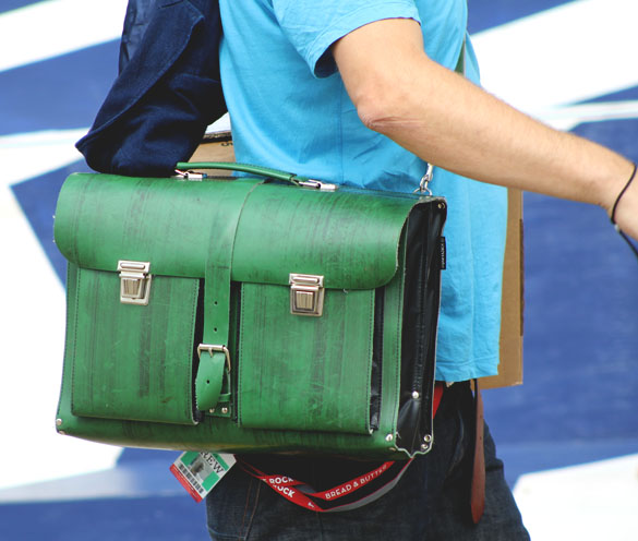 green leather academy satchel