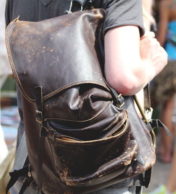 vintage leather backpack almost broken