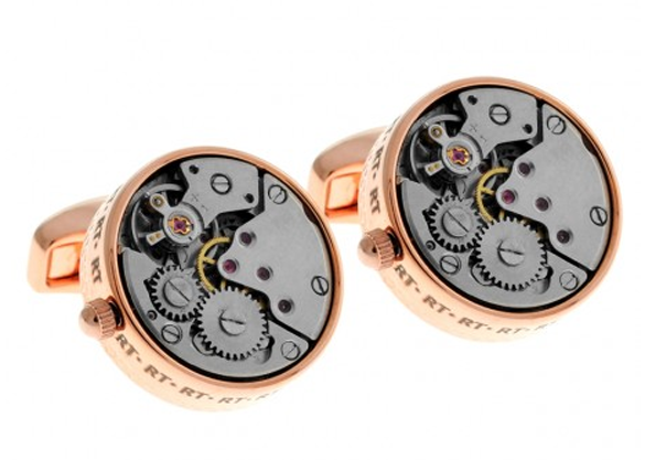 tateossian rose gold mechanical cufflinks